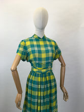 Load image into Gallery viewer, Original Early 1950s Cotton Lawn Day Dress - In a Beautiful Vivid Green and Yellow Plaid