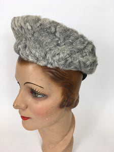 Original 1940s Beautiful Tilt Hat - In A Soft Icy Grey With Grey Astrakhan Trim
