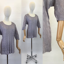 Load image into Gallery viewer, Original 1930s Knitted Tunic in Soft Lavender - Featuring Harlequin Pattern and Shapes Hemline