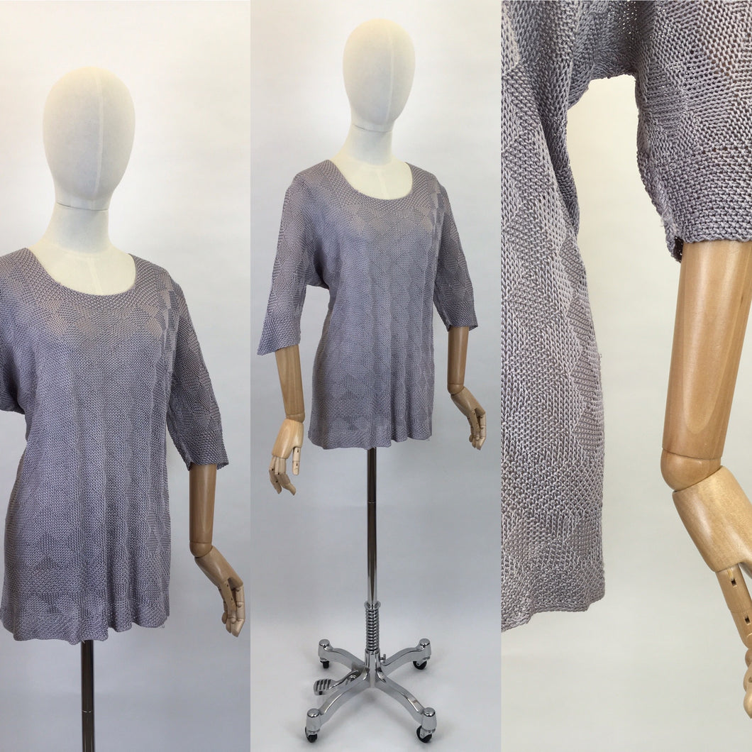 Original 1930s Knitted Tunic in Soft Lavender - Featuring Harlequin Pattern and Shapes Hemline
