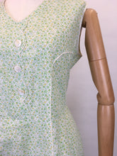 Load image into Gallery viewer, Original 1930s Cotton Day Dress - In a Lovely Colour Pallet of Soft greens, Buttercup Yellows and White