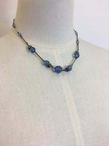 Original 1930's Necklace - With Royal Blue Glass Beads