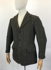 Original Gents Harris Tweed Jacket by ' Dunn & Co ' - In A Lovely Open Weave in Greens, Oranges & Yellows