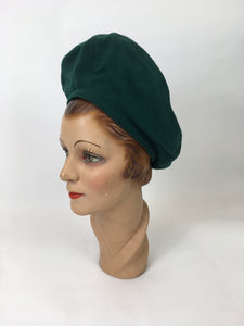 Original 1940's Halo Beret - In A Stunning Forest Green Wool