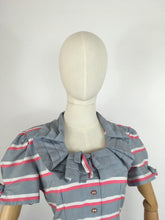 Load image into Gallery viewer, Original Early 1940s Cotton Day Dress - Lovely Stripe In Soft Greys, Bright Pinks and White