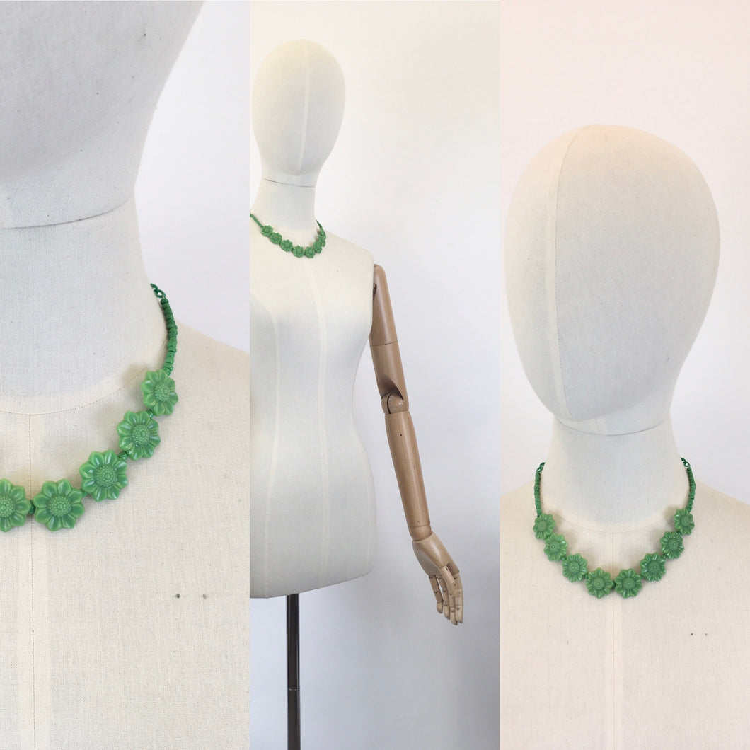 Original 1940's Green Early Plastic Necklace - With Florals and Beads