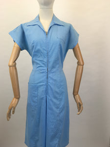 Original 1940's Homemade Zip Front Playsuit - In a Lovely Sky Blue Cotton