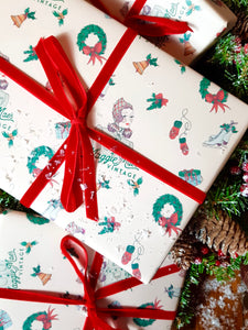 Gift Wrapping Service with Festive Wrapping Paper & Ribbon / Twine - Exclusively Designed By Shropshire Illustrator Hannah Chumbley