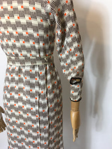 Original 1930's Day Dress in an Amazing Geometric / Cigarette Print Dress in Browns, old Creams and deco Oranges - Festival Of Vintage Fashion Show Exclusive