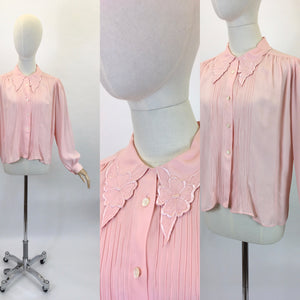 Original 1940's Utility CC41 Crepe Blouse - In A Beautiful Soft Powder Pink