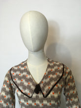 Load image into Gallery viewer, Original 1930's Day Dress in an Amazing Geometric / Cigarette Print Dress in Browns, old Creams and deco Oranges - Festival Of Vintage Fashion Show Exclusive
