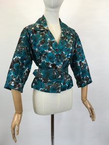 Original 1950's Floral Jacket & Belt Set - In A Bright Turquoise, White and Charcoal