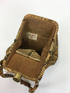 Original 1930s Python Skin Handbag - In a Fabulous Shape with Knotted Handle Detailing
