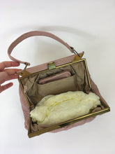 Load image into Gallery viewer, Original 1950's Ostrich Leather Handbag and Gloves - In a Beautiful Powder Pink
