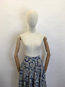 Original 1950's ' St. Michael' Cotton Skirt - Made From A Beautiful Paisley Floral in Blue