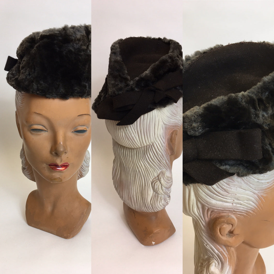 Original 1940's Moleskin & Felt Topper - In A Fabulous Asymmetrical Shape