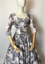 Load image into Gallery viewer, Original 1950s Darling Dress - In the Most Delicate Powder Pink with Charcoal Stencil Overlay Print
