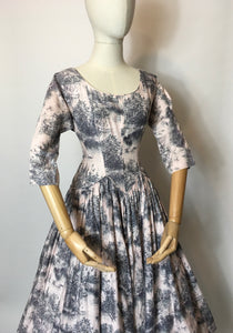 Original 1950s Darling Dress - In the Most Delicate Powder Pink with Charcoal Stencil Overlay Print