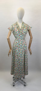 Original Late 1930s Early 1940's Wrap Dress - In A Beautiful Colour Palette of Deco Green, Yellow, Red and Blue