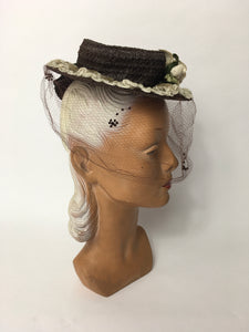 Original Late 1930's Raffia Tilt Hat with Cream Floral Adornment and Veiling - Festival of Vintage Fashion Show Exclusive