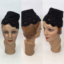 Load image into Gallery viewer, Original FABULOUS 1950s Black Topper Hat - Cutwork Details infilled With Veiling and Adorned With Bugle Beadwork