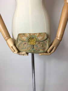 Original 1930s Simply Stunning Crewelwork Clutch Bag - In Beautiful Soft Pastels