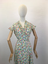 Load image into Gallery viewer, Original Late 1930s Early 1940's Wrap Dress - In A Beautiful Colour Palette of Deco Green, Yellow, Red and Blue