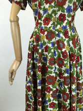 Load image into Gallery viewer, Original 1940s Floral Zip Front Dress - In Lovely Autumnal Shades of Rich Wines, Blues, Yellows and Greens