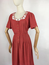 Load image into Gallery viewer, Original 1940's Dress By ' Travelcraft by Sportscraft' - In a Beautiful Deep Coral with White Floral Beadwork