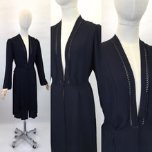 Load image into Gallery viewer, Original 1930s Lightweight Summer Coat - In a Lovely Navy Crepe