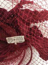 Load image into Gallery viewer, Original 1940s American Headpiece - In a Beautiful Deep Wine Colour
