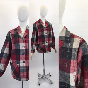 Original 1960's Pendleton Check Jacket - In Lovely Warm Reds, Black's and Ivories