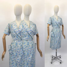 Load image into Gallery viewer, Original 1950's Floral Cotton Wrap Dress - In A Blue, Green & White Colour Pallet