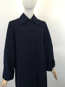 Original 1940's Navy Gabardine Coat - A Lovely 40's Silhouette with Beautiful Details