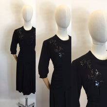 Load image into Gallery viewer, Original 1940's Sequin Embelished Cocktail Dress - Feauturing Ruched Front Detailing