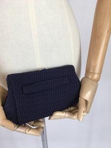 Original 1930s Midnight Blue Evening Bag - In a Pleated Crepe with Paste Clasp
