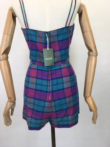 Original 1950s Fabulous Summer Playsuit - In a Gorgeous Plaid With Rich Purple, Reds, Blues and Bottle Greens