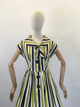 Load image into Gallery viewer, Original 1950s Fun Day Dress - Made From a Lovely Black, White and Chartreuse Stripe Cotton