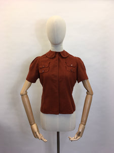Original 1940's Rust Blouse - Featuring Amazing Pocket Detailing & Collar