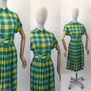 Original Early 1950s Cotton Lawn Day Dress - In a Beautiful Vivid Green and Yellow Plaid