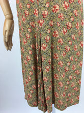 Load image into Gallery viewer, Original 1930s Exquisite Dress - In a Breathtaking Colour Palette Of Warm Rose Pinks and Reds, Tonal Greens and Powder Blues on a Floral Crepe