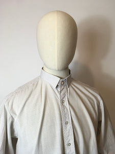 Original Gents Collarless Shirt with Collar - In a Lovely Blue and Beige Fine Check