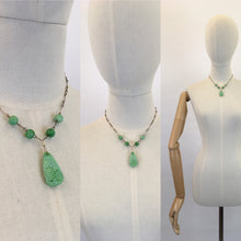 Load image into Gallery viewer, Original 1930s Necklace In The Iconic 30's Green - Glass Beads and Pressed Glass