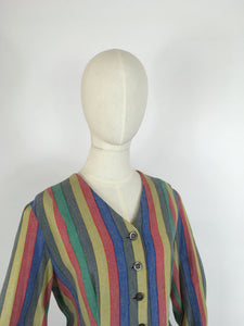 Original Late 1930s Day Dress - In a Fabulous Heavyweight Linen in a Rainbow Stripe with Contrast Chevron Pattern
