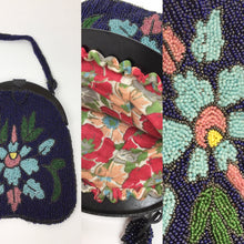 Load image into Gallery viewer, Original Early 1920's Beaded Handbag - In an Exquisite Colour Palette of Rich Blues, Greens, Turquoise, Powdered Blush and Yellow