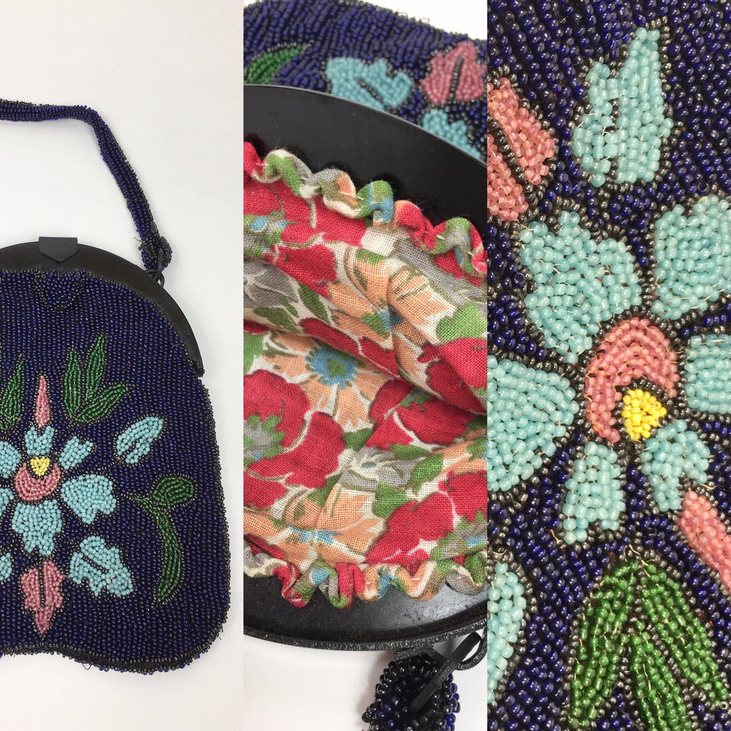 Original Early 1920's Beaded Handbag - In an Exquisite Colour Palette of Rich Blues, Greens, Turquoise, Powdered Blush and Yellow