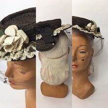 Load image into Gallery viewer, Original Late 1930's Raffia Tilt Hat with Cream Floral Adornment and Veiling - Festival of Vintage Fashion Show Exclusive