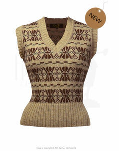 House Of Foxy FairIsle Tank Top - In Warming Browns