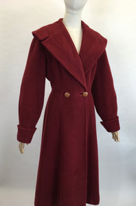 Original 1940's SENSATIONAL Russet Red Princess Coat - Lovely Shaped Shawl Collar and Cuffs