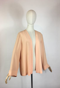 Original 1940's Edge to Edge Rayon Jacket - In A Darling Soft Apricot Peach
